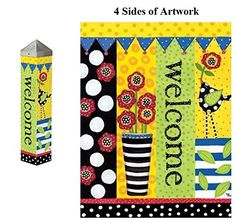 Get your Frolic Welcome Small Art Pole Outdoor Decoration from Heartland Flags! Free first class shipping available on all orders! Frolic Welcome Art Pole 4 Sided Artwork. Yard Art Crafts, Garden Crafts, Diy Garden Decor, Garden Art, Garden Design, Peace Pole, Garden Poles, Fenced Garden, Pole Art