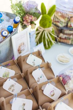 Gable Lunch Boxes from a Peter Rabbit Birthday Party via Kara's Party Ideas… Easter Birthday Party, Bunny Birthday, Baby First Birthday, First Birthday Parties, 1st Birthday Party Ideas For Girls, 1st Birthday Decorations, Birthday Lunch, Peter Rabbit Party, Peter Rabbit Birthday