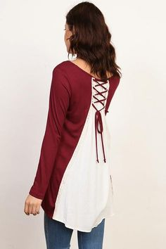 A Fall Top - Solid Lace Up Back