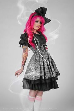 Lolita Dress Black and White Cotton Print JSK by KMKDesignsllc, $115.00