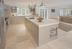 Designing Women Sydney - interior design,kitchen design,bathroom design - Kitchens 600x600 travertine tiles Shaker cabinets Lovely shade on the walls