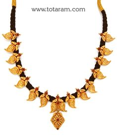 22K Gold 'Mango' Necklace with Black Thread (Temple Jewellery) - GN1601 - Indian Jewelry from Totaram Jewelers