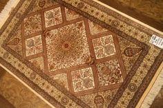 ペルシャ絨毯クム産地シルク玄関マット48058
