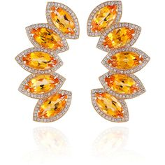 Dana Rebecca One-of-a-Kind Citrine And Diamonds In Earrings Yellow Gold ($6,160) found on Polyvore