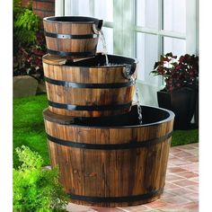 Repurposing Barrels/Kegs into a Tiered Garden Fountain  #UniversalTrim