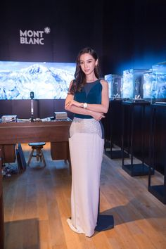 Pin for Later: Angelababy Is a Chinese Superstar Who Could Give Kim Kardashian a Lesson in Style A Sleek Column Gown Looks Just Right With Sparkling Jewels