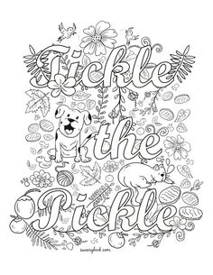 Tickle the Pickle - Swear Words Coloring Page from the Sweary Slutty Coloring Book - Swearing Sexy Colouring Pages for Adults