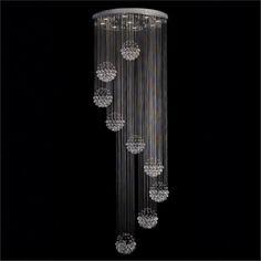 Clear Crystal Spheres 9-Light Chandelier