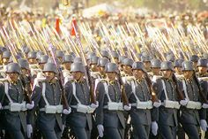 Cadets of the Sgt. Daniel Rebolledo Sepulveda NCO School marching through O'Higgins Park in Santiago at the 2004 Chilean Army Day Parade.