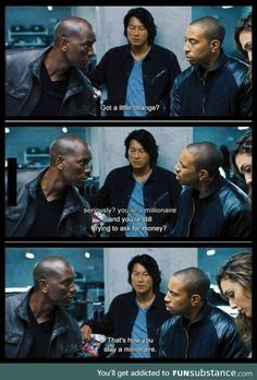 Roman is hilarious // Fast and Furious 6 Fast And Furious Memes, Fast And Furious Cast, Furious Movie, The Furious, Michelle Rodriguez, Dwayne The Rock, Gal Gadot, Sung Kang, Dominic Toretto