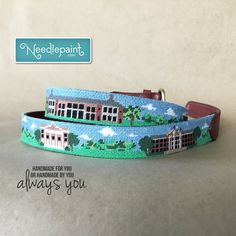Remember your special #ElonUniversity experiences with our panoramic view, and #customized #needlepoint #belt of this campus. www.Needlepaint.com