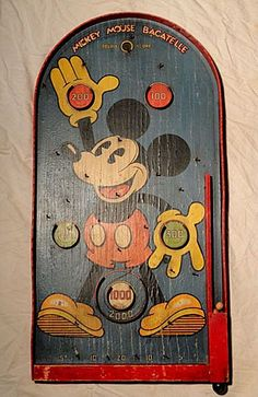 Rare Walt Disney Mickey Mouse Bagatelle Pinball Game 1934