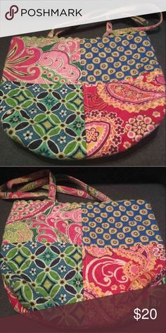 Vera Bradley Patch Purse May show signs of wear on straps. 4 color patches (pink, blue, green, and red). 8x10.5in unsure of original cost Vera Bradley Bags Totes