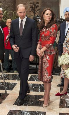 Prince William, Duke of Cambridge, left, andthe duchess, wearing a Alexander McQueen outfit, lay a wreath at the Taj Mahal Palace Hotel, one of the scenes of terror attacks in November 2008 in Mumbai, India.The wreath-laying was April 10, at the beginning of the royal couple's visit to India and Bhutan.