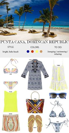 Packing list for Punta Cana, Dominican Republic beach vacation.