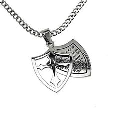 "Christian Mens Stainless Steel Abstinence 2 Piece Shield ""Armor of God - Put on the Full Armor of God That You May Be Able to Stand Firm Against the Schemes of the Devil"" Ephesians 6:11 Purity Necklace on a 24"" Curb Chain for Boys - Guys Purity Necklace Spirit & Truth,"