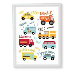 Vehicle art print trucks trains cars wall art by ParadeAndCompany