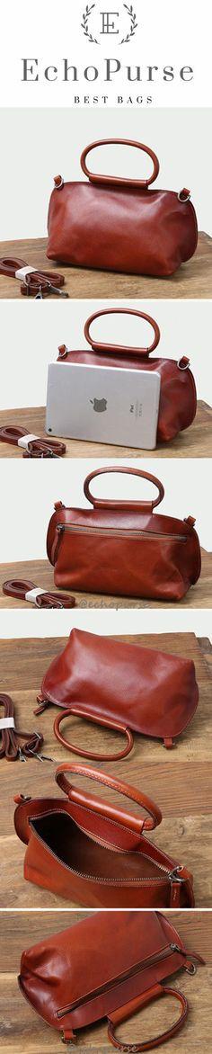 Handmade Vintage Leather Purses, Handbags, Fashion Shell Shoulder Bag B347
