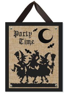 Handmade unique one-of-a-kind Witches Party Time Halloween natural burlap sign. The perfect Halloween decoration to liven up your holiday season! It makes a great fall housewarming gift! A perfect gift for you too! Each sign is created in our studio to ensure the highest quality! Due to the hand-crafted nature of our items, no two are exactly alike. The burlap color and texture may vary slightly, adding to the uniqueness of each piece. There wont be another one exactly like it.  Details…