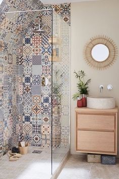 Define your style. Does your bathroom need a pop of colour? Mismatch any of our ceramic wall tiles to create an effortless boho chic feel to any bathroom. Boho Bathroom, Diy Bathroom Decor, Simple Bathroom, Bathroom Interior Design, Interior Decorating, Navy Bathroom, Bathroom Niche, Cream Bathroom, Decorating Ideas