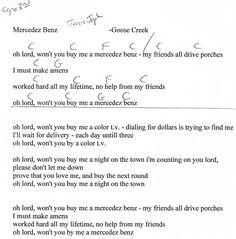 Mercedez Benz (Janis Joplin) Capo 3rd - Guitar Chord Chart with Lyrics - http://www.youtube.com/munsonmusiclive