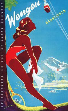 Wengen, Switzerland #vintage travelposter vintage travel poster  skiing, beach