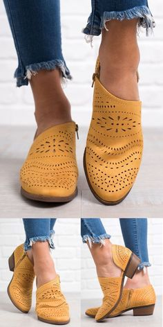 84458727b1dc Chellysun Hollow-out Low Heel Cutout Booties 2018 fall winter trends  Cowgirl ankle boots cute riding low heels zipper boots