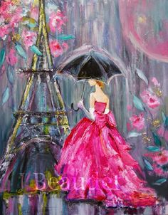 Paris Rain16x20mixed mediaI'm so intrigued by mixed media art, I thought I would give it a go. This one includes acrylic, oils,oil pastels, charcoal, and fine glitter accenting the flowers and the tower. I designed the dress myself. How do you like it? Now I just need to go to Michael's to buy some