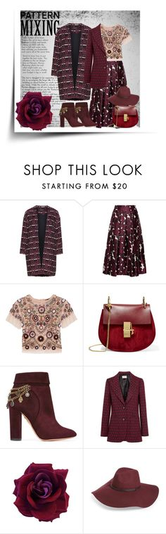 """Red-violet pattern mixing"" by goldencat ❤ liked on Polyvore featuring Manon Baptiste, Oscar de la Renta, Needle & Thread, Chloé, Aquazzura, Gucci, Halogen, red and patternmixing"