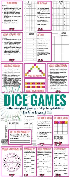 Math games 547539267193628493 - Dice Games Math Centers for building numerical fluency and an introduction to probability. Dice Games, Activity Games, Math Games, Math Activities, Games To Play, Therapy Activities, Articulation Games, Number Games, Learning Games