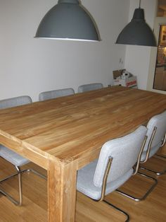 New Teak table with six framechairs and Ikea lamps