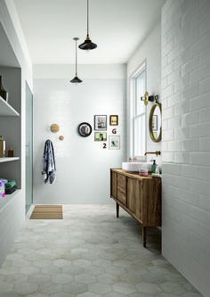 Bathroom inspiration - Bathroom flooring: ceramic and porcelain stoneware Wall And Floor Tiles, Bathroom Floor Tiles, Laundry In Bathroom, Master Bathroom, Wall Tiles, Neutral Bathroom Tile, Tranquil Bathroom, Mint Bathroom, Wood Tile Bathroom Floor