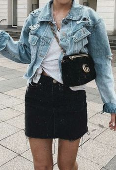 denim levis jacket + gucci mazmont crossbody bag + white knotted tee + black denim skirt | denim on denim outfit | cute back to school outfits for teens | #outfits #outfitselfie