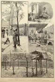 Senegalese village 1889 art print Paris world por PaperThesaurus Colonial, Human Zoo, Okapi, Engraving Illustration, Walk The Earth, Zoos, World's Fair, Interesting History, Antique Prints