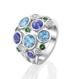 Raindance Large Watercolour Ring. In 18ct white gold with 4.31ct diamonds and coloured gemstones
