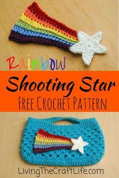 Living the Craft Life: Rainbow Shooting Star - Free Pattern Rainbow Crochet, Crochet Stars, Crochet Snowflakes, Crochet Flowers, Crochet Bouquet, Crochet Applique Patterns Free, Free Pattern, Crochet Appliques, Knitting Patterns