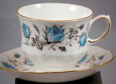 Queen Anne Ridgeway Potteries Blue Rose Tea Cup And Saucer #Ridgeway