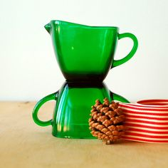 1950's Green Glass Creamer and Sugar Set - FireKing Charm Pattern. $16.00, via Etsy.