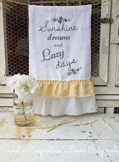 "Items similar to Flour Sack Kitchen Towel - Farmhouse Style Country Cottage Chic Ruffle ""Sunshine Dreams and Lazy Days"". Sweet Magnolias Farm on Etsy Dish Towels, Hand Towels, Tea Towels, Sweet Magnolia, Magnolia Farms, Kitchen Linens, Kitchen Towels, Flour Sack Towels, Flour Sacks"