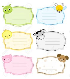 Illustration about Cute colorful animal labels set isolated on white background. Illustration of card, faces, frames - 21614938 Printable Animals, Printable Labels, Printable Stickers, Book Labels, Kids Labels, Name Tag For School, Nametags For Kids, Kids Background, School Labels