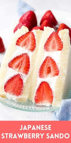 This Japanese fruit sandwich, also called fruit sando or strawberry sando, is a Japanese sandwich made with fresh strawberries and other fruit, sliced white bread or milk bread (shokupan), and fresh whipped cream! #fruitsando #japanesefruitsandwich #strawberrysando #drivemehungry Desserts For A Crowd, Healthy Dessert Recipes, Easy Desserts, Delicious Desserts, Yummy Food, Lunch Recipes, Cake Recipes, Vegetarian Desserts, Asian Desserts