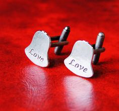 Silver Christmas Bells Cufflinks  Romantic LOVE by CleopatraNYC, $48.00
