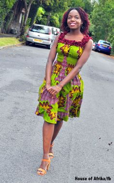 African print dress in wine and green hues with by HouseofAfrika, £50.00