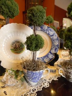 Reindeer Moss TeaCup Topiary in Vintage Blue English Transferware at EnglishTransferware on Etsy