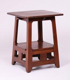 Brooks Cutout Pagoda Lamp Table    Arts and Crafts   Craftsman   Bungalow
