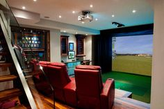 HD Golf Simulators traditional-home-theater Golf Man Cave, Golf Room, Golf Simulators, Golf Humor, Ladies Golf, Women Golf, Home Theater, Theatre, Golf Tips