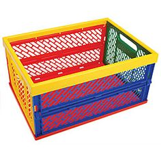 @Overstock - This functional crate collapses and expands in seconds. This multicolored crate is made of sturdy ABS plastic can hold up to 40-pounds.http://www.overstock.com/Crafts-Sewing/Collapsible-Large-Crate/5734775/product.html?CID=214117 $21.99