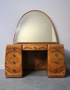 Art Deco Dressing Table, English, burl walnut/mahogany/ chromed brass ware, ca.1920