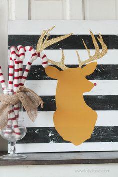 DIY Glitter Reindeer Art... Oh my cuteness!