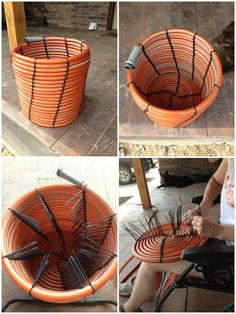 """Recycle an old garden hose into a beautiful garden basket or waste container. [symple_box color=""""gray"""" fade_in=""""false"""" float=""""center"""" text_align=""""left"""" width=""""100%""""] Website: A Building We Shall Go ! [/symple_box]"""